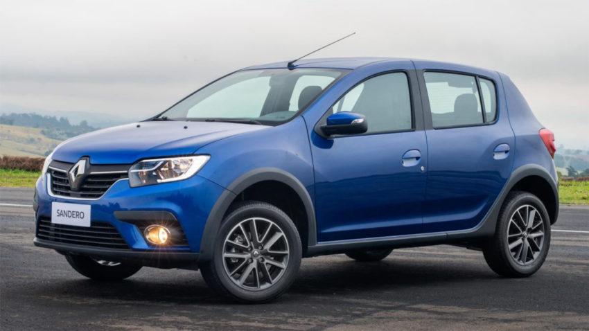 Renault Sandero 2020 Azul visto desde a lateral