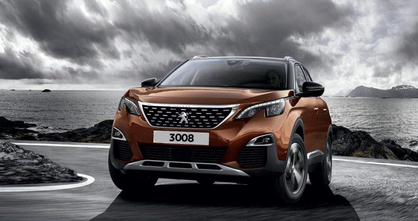Peugeot 3008 laranja visto de frente