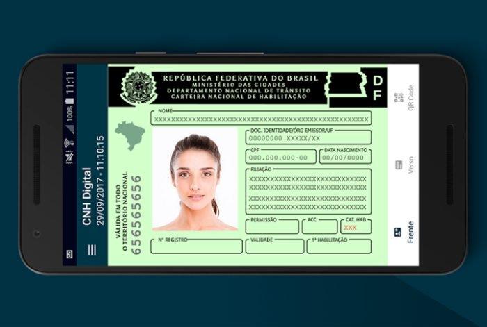 CNH digital simulação em celular