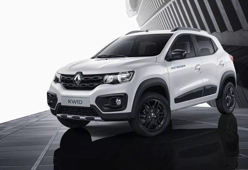 Renault Kwid Branco em piso preto visto desde a dianteira